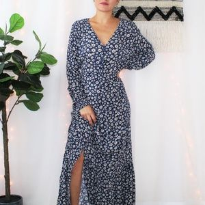 ECI New York Blue Long Sleeve Floral Dress 003